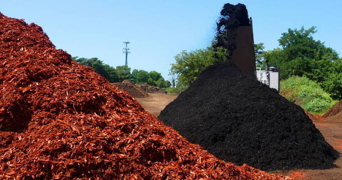 pile of colored mulch